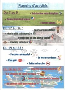 programme juillet